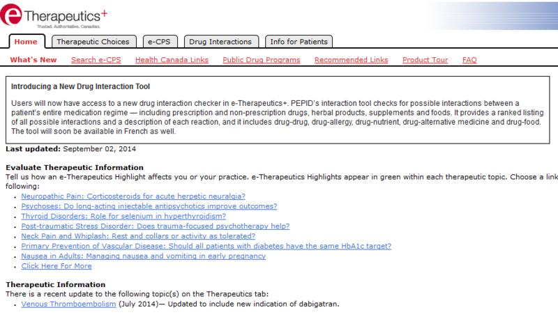 eTherapeutics+ home page