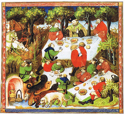 "A nobleman with his entourage enjoying a picnic. Illustration from a French edition of Le Livre de chasse de Gaston Phébus (""The Hunting Book of Gaston Phebus""), 15th century.  Bibliothèque National, Paris."